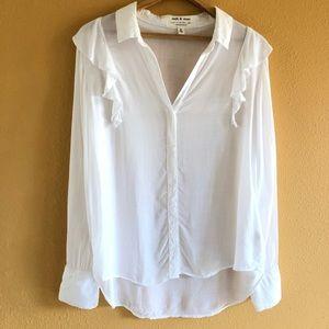 Anthropologie White Ruffle Button Down Shirt M